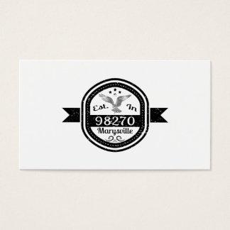 Established In 98270 Marysville Business Card