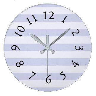 Estate-Farmhouse-Stripes-Lavender-Clocks Large Clock