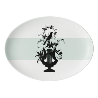 Estate-Serving-Celadon-Bird-Platter Porcelain Serving Platter