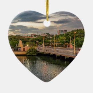 Estero Salado River Guayaquil Ecuador Ceramic Heart Ornament