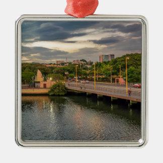 Estero Salado River Guayaquil Ecuador Silver-Colored Square Ornament