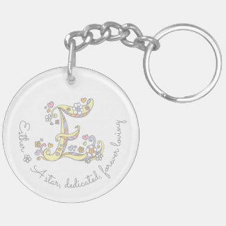 Esther monogram letter E name and meaning keyring