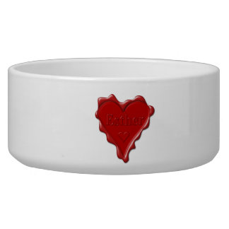 Esther. Red heart wax seal with name Esther Pet Bowl