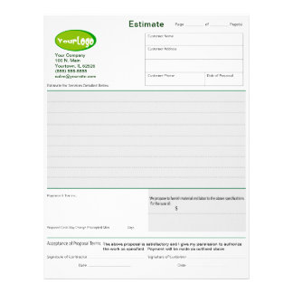 Estimate / Quote / Job Proposal Forms Letterhead