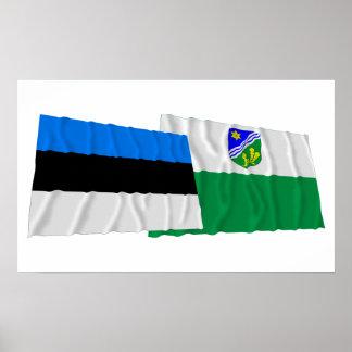 Estonia and Tartu Waving Flags Poster