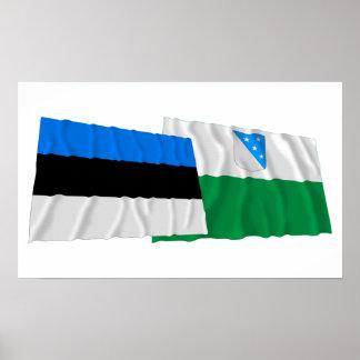 Estonia and Valga Waving Flags Poster