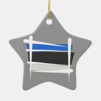 Estonia Brush Flag Ceramic Ornament
