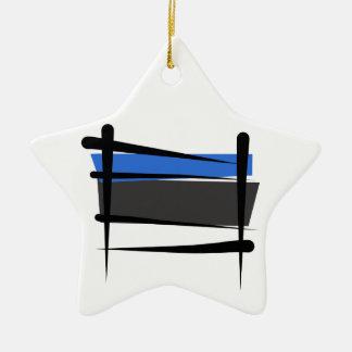 Estonia Brush Flag Ceramic Star Ornament
