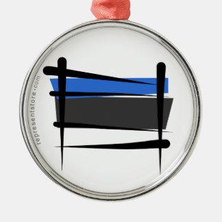 Estonia Brush Flag Silver-Colored Round Ornament