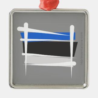 Estonia Brush Flag Silver-Colored Square Ornament