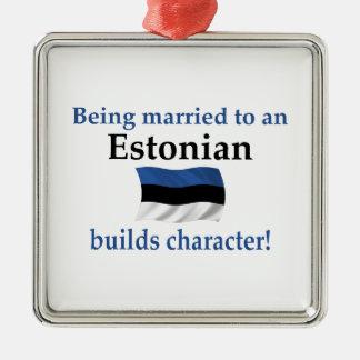 Estonia Builds Character Silver-Colored Square Ornament