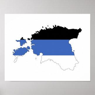 estonia country flag map shape symbol poster