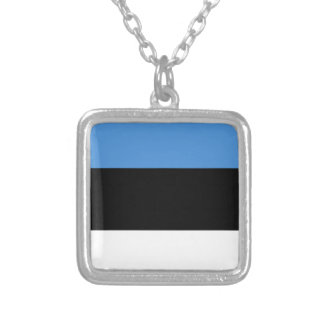 Estonia flag all over design silver plated necklace