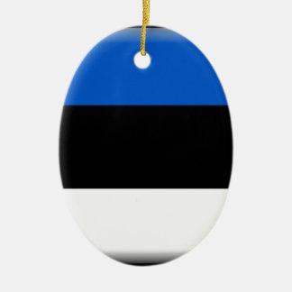 Estonia Flag Ceramic Oval Ornament