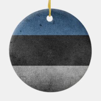 Estonia Flag Grunge Round Ceramic Ornament