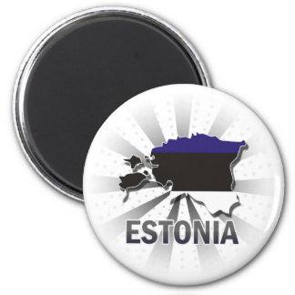 Estonia Flag Map 2.0 2 Inch Round Magnet