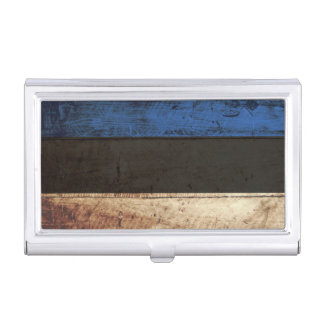 Estonia Flag on Old Wood Grain Business Card Holder