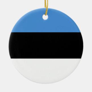 Estonia Flag Round Ceramic Ornament