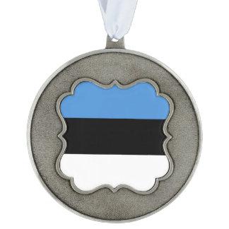 Estonia Flag Scalloped Pewter Ornament