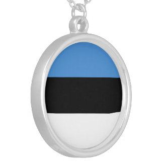 Estonia Flag Silver Plated Necklace