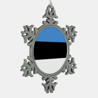 Estonia Flag Snowflake Pewter Christmas Ornament