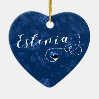 Estonia Heart, Christmas Tree Ornament, Estonian Ceramic Ornament