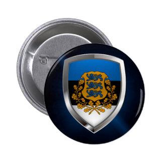 Estonia  Metallic Emblem 2 Inch Round Button