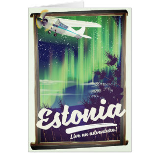 Estonia Northern lights adventure poster. Card