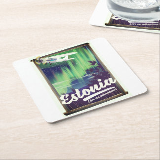 Estonia Northern lights adventure poster. Square Paper Coaster