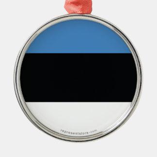 Estonia Plain Flag Silver-Colored Round Ornament