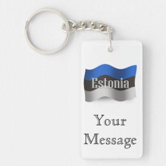 Estonia Waving Flag Double-Sided Rectangular Acrylic Keychain