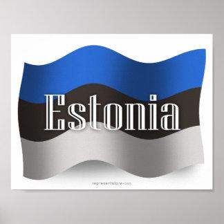 Estonia Waving Flag Poster