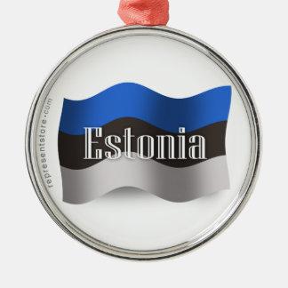 Estonia Waving Flag Silver-Colored Round Ornament