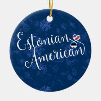 Estonian American Hearts, Christmas Tree Ornament, Ceramic Ornament