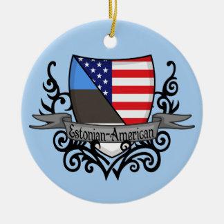 Estonian-American Shield Flag Round Ceramic Ornament