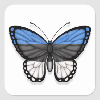 Estonian Butterfly Flag Square Sticker