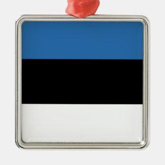 Estonian Falg Silver-Colored Square Ornament
