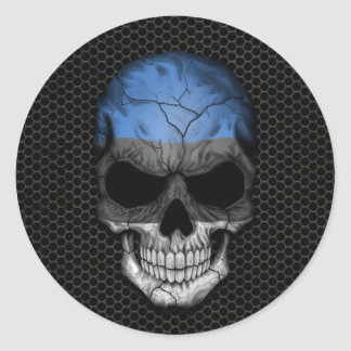 Estonian Flag Skull on Steel Mesh Graphic Classic Round Sticker