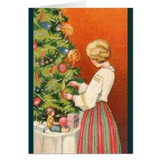 Estonian Girl at Christmas Tree Greeting Card