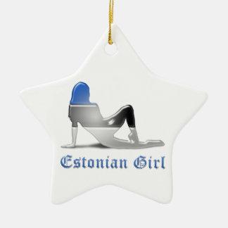 Estonian Girl Silhouette Flag Ceramic Star Ornament