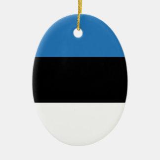 Estonian or Flag of Estonia Ceramic Oval Ornament