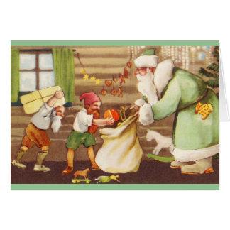 Estonian Santa Claus + Elves Christmas Card
