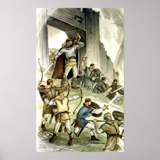 Estonian Viking Battle - Watercolour Poster