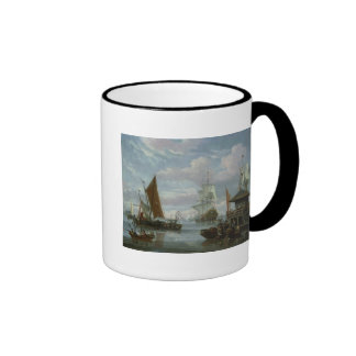 Estuary Scene with Boats and Fisherman Mugs