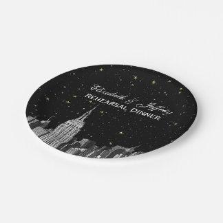 Etch NYC ESB Skyline Star DIY Bg 7 Inch Paper Plate