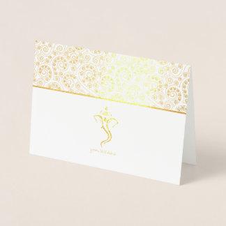 Etched Gold Foil Ganesh Indian Wedding Cards