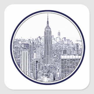 Etched Look NYC Skyline, Round Frame Sticker