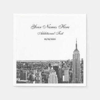 Etched Look NYC Skyline Silhouette, ESB Disposable Napkin