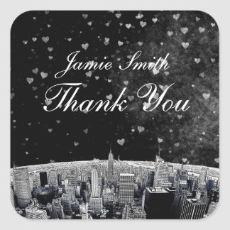 Etched NYC Skyline #2 Black White Heart Thank You Square Sticker