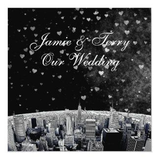 """Etched NYC Skyline #2 Black White Heart Wedding 5.25"""" Square Invitation Card"""